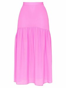 Maryam Nassir Zadeh silk high waisted tiered skirt - Pink