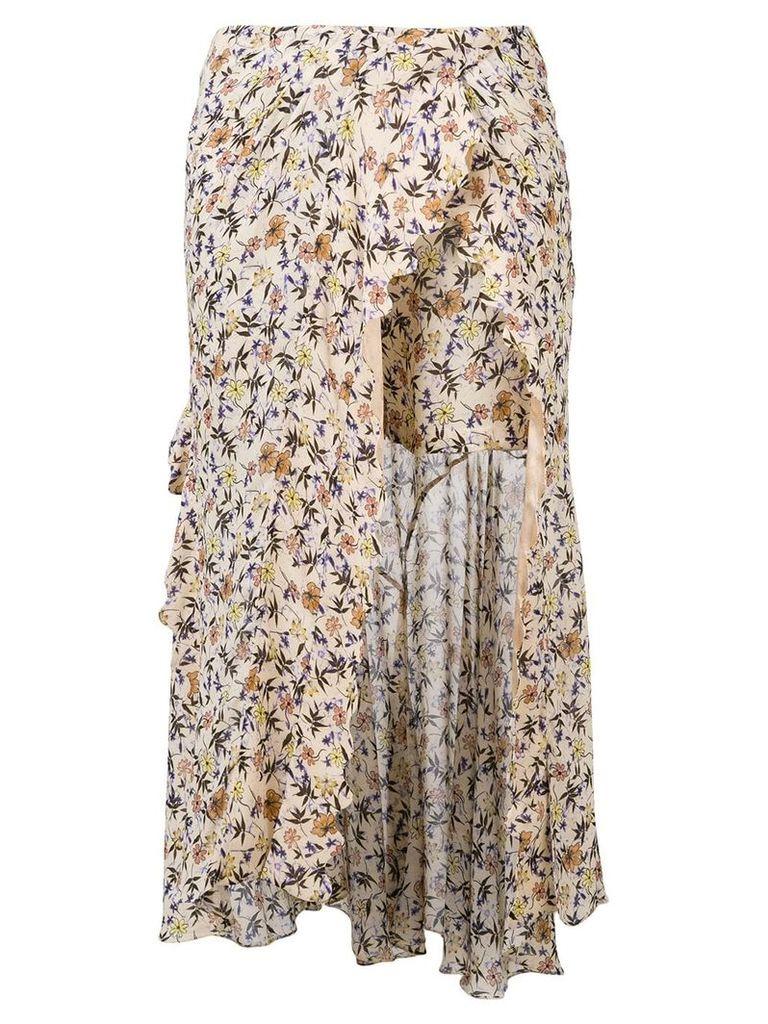 Chloé floral print asymmetric skirt - Brown