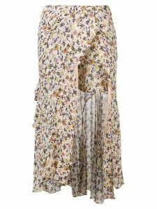 Chloé floral print asymmetric skirt - Brown