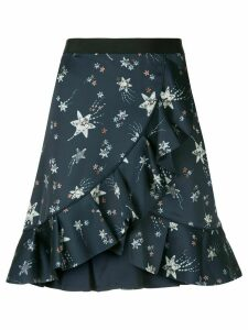 Self-Portrait star print flounce skirt - Blue