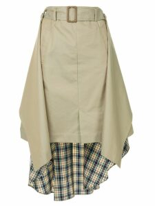 Maison Mihara Yasuhiro contrast material skirt - Brown