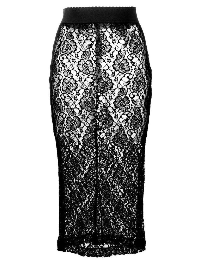 Dolce & Gabbana floral lace midi skirt - Black