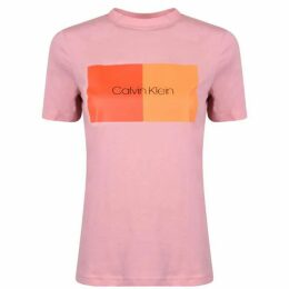 Calvin Klein Womenswear Cotton Block Logo T Shirt