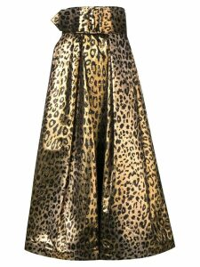Sara Battaglia leopard print full skirt - Gold