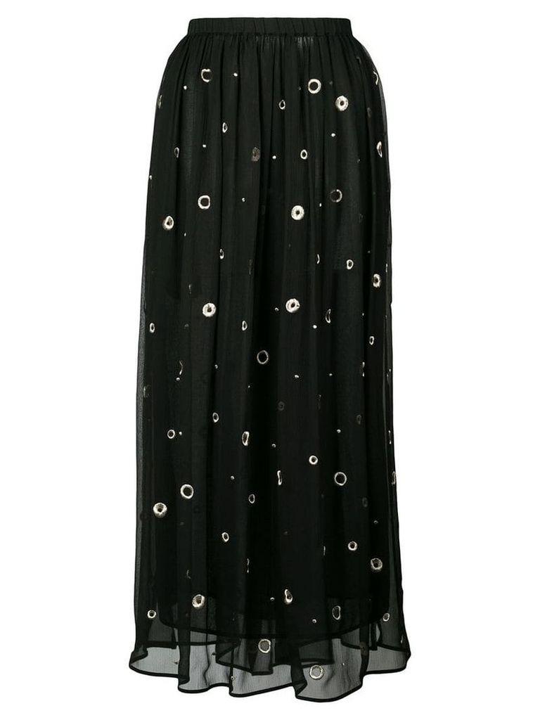 Vince metallic embroidered midi skirt - Black