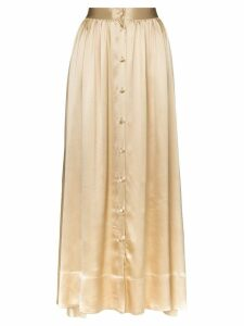 Deitas bell silk button down midi skirt - Gold