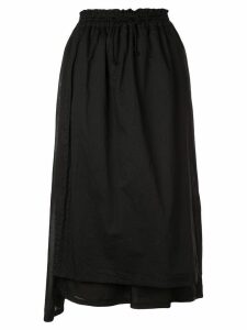 Y's drawstring midi skirt - Black