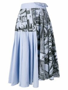 JW Anderson Durer scene print striped skirt - Blue