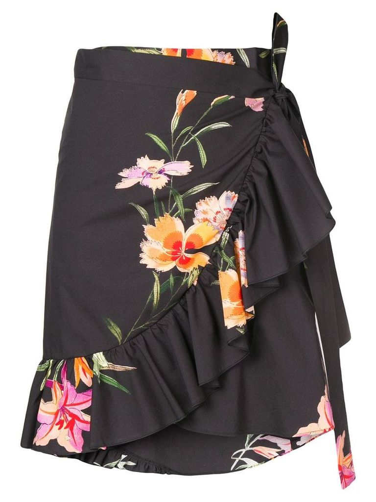 Etro floral print wrap skirt - Black