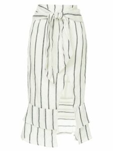 Suboo Eden stripe ruffled midi skirt - White