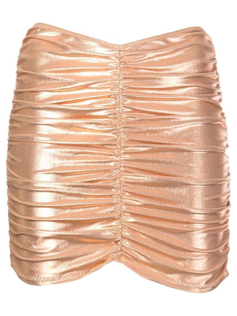 Lisa Marie Fernandez metallic ruched skirt - Gold