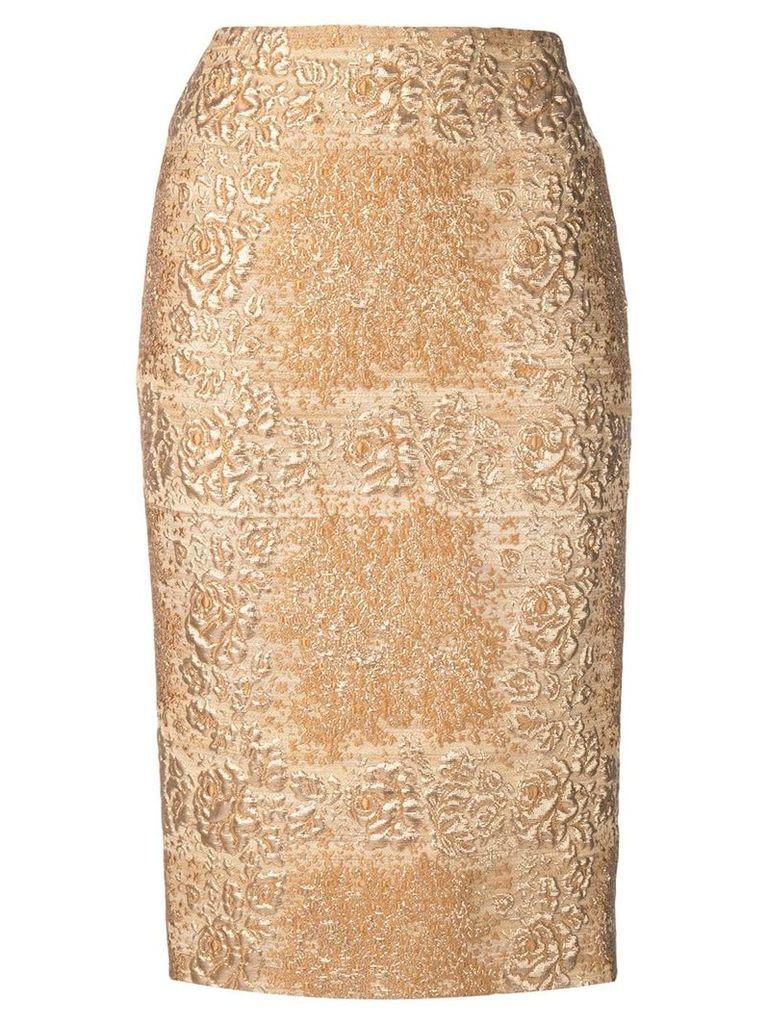 Valentino brocade pencil skirt - Gold