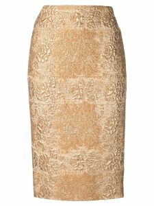 Valentino brocade pencil skirt - Gold