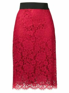 Dolce & Gabbana lace pencil skirt - Red