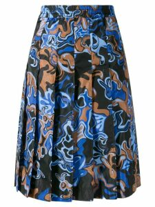 Marni colour-block pleated skirt - Blue