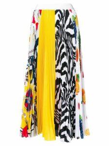 MSGM pleated multi-print skirt - White