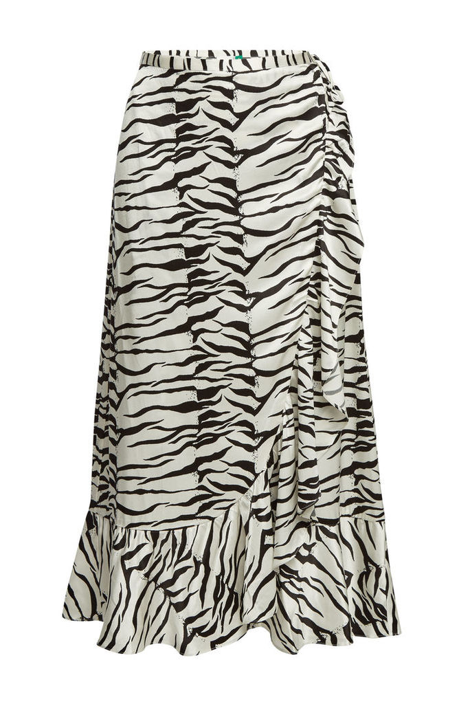 RIXO LONDON Gracie Printed Silk Wrap Skirt