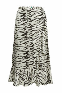 RIXO LONDON Gracie Printed Silk Wrap Skirt