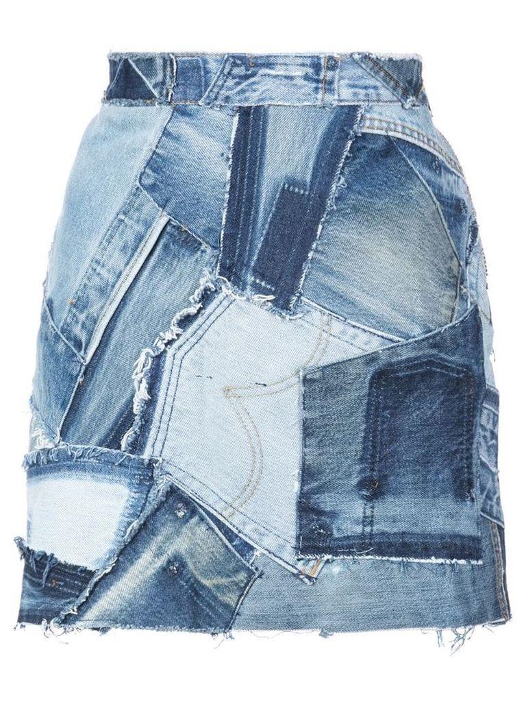 Re/Done patchwork denim skirt - Blue