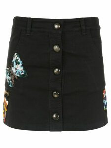 Andrea Bogosian embroidered denim skirt - Black