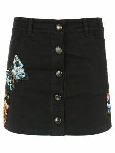Andrea Bogosian embroidered denim skirt - Black