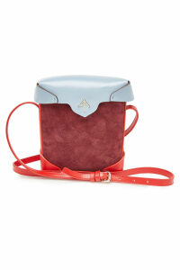 Manu Atelier Mini Pristine Leather Shoulder Bag with Suede