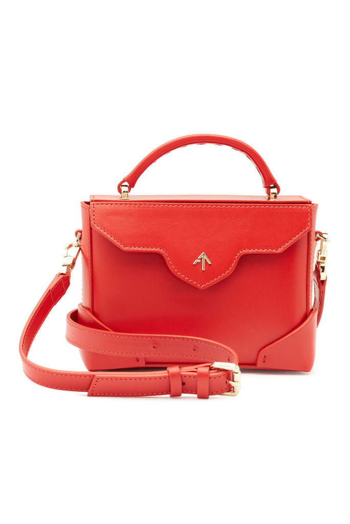 Manu Atelier Micro Bold Leather Shoulder Bag with Chain Strap
