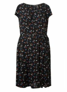 Womens **Billie & Blossom Curve Black Bow Skater Dress- Black, Black