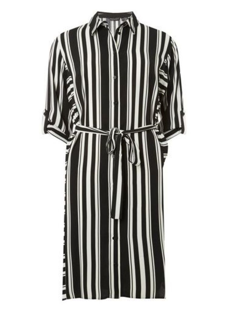 Womens Black And Cream Striped Shirt Dress- Multi, Multi