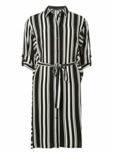 Womens Black And Cream Striped Shirt Dress- Multi, Multi