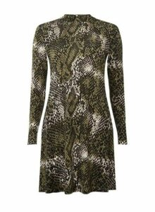 Womens Green Snake Print High Neck Fit And Flare Dress- Green, Green
