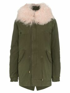 Mr & Mrs Italy london mongolian lamb fur collar parka - Green