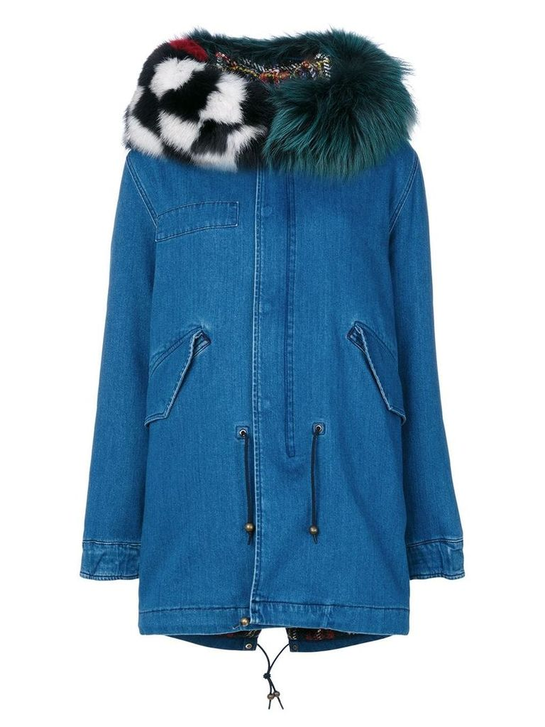 Mr & Mrs Italy patched denim mid parka - Blue