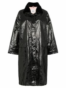 Stand Maia papery print patent parka - Black