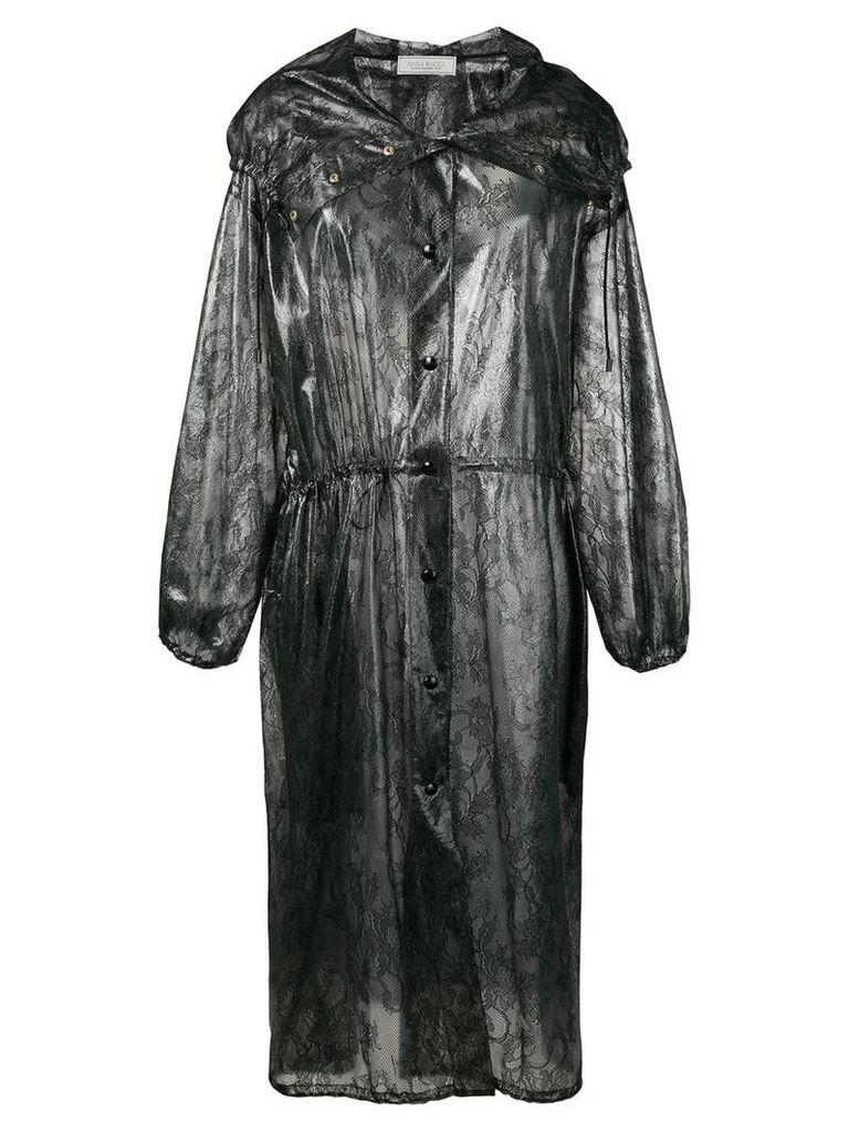 Nina Ricci lace print raincoat - Black