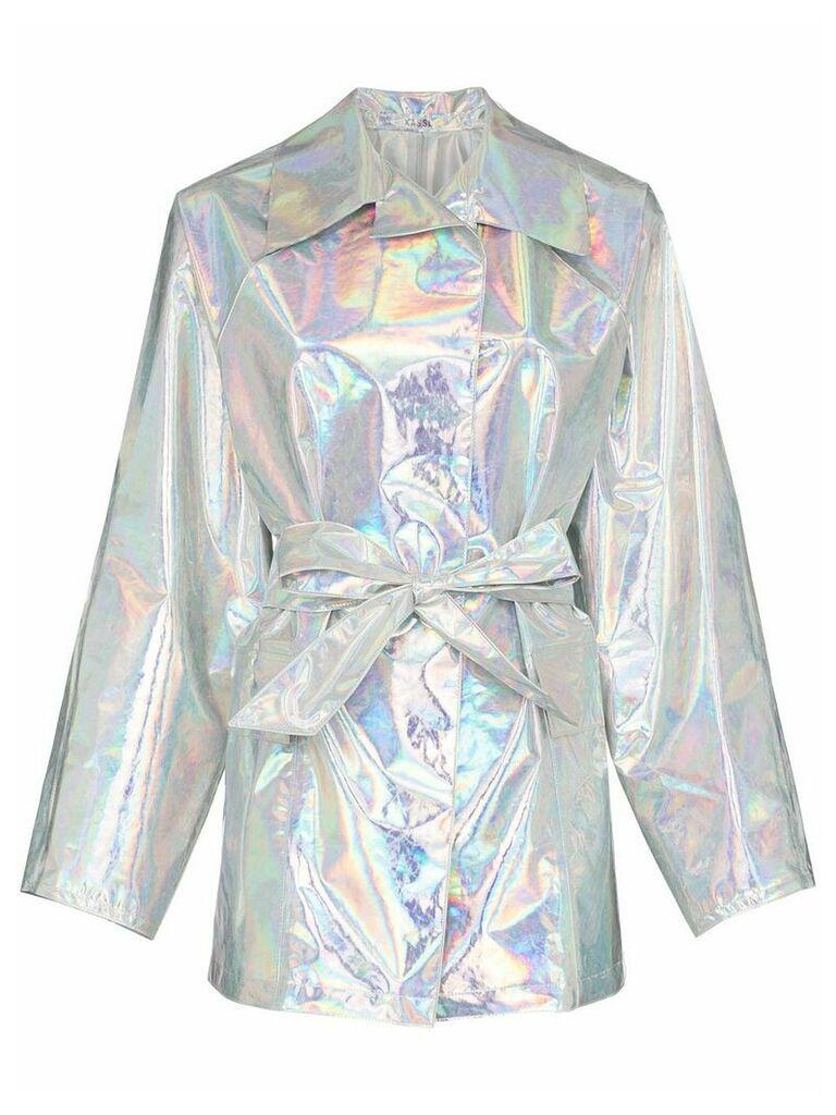 Kassl belted hologram trench coat - Metallic