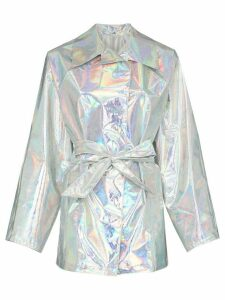 Kassl Editions belted hologram trench coat - Metallic