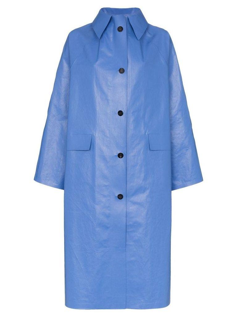 Kassl Oil long sleeve button down coat - Blue