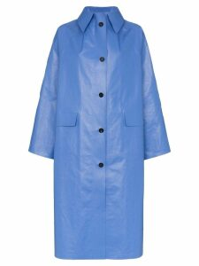 Kassl Oil long sleeve button down coat - Blue