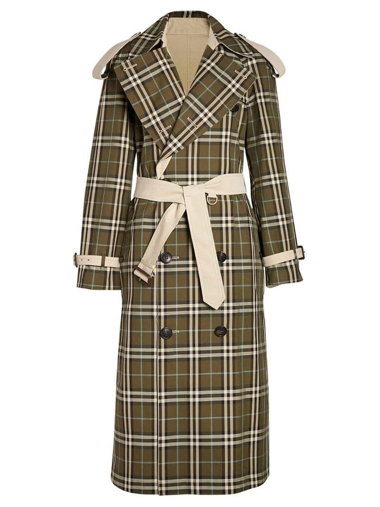 Burberry check trench coat - Neutrals