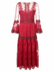 Marchesa Notte lace midi dress - Red