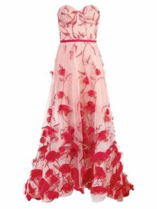 Marchesa Notte strapless floral dress - Red