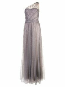 Marchesa Notte long one-shoulder dress - Metallic
