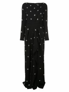Oscar de la Renta polka dot embroidered dress - Black