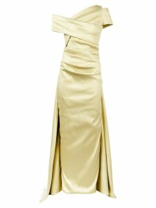 Talbot Runhof lamé off-shoulder dress - Yellow
