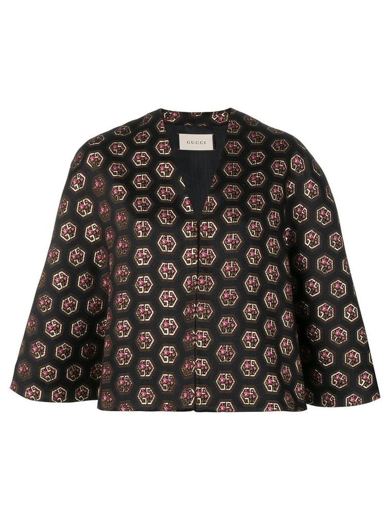 Gucci logo-jacquard cape - Black