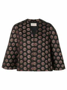 Gucci logo-jacquard cape - Black