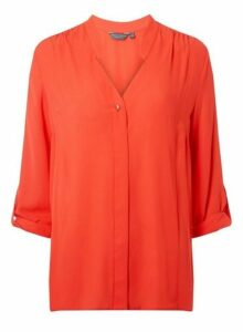 Womens **Tall Coral Pink Roll Sleeve Shirt- Coral, Coral