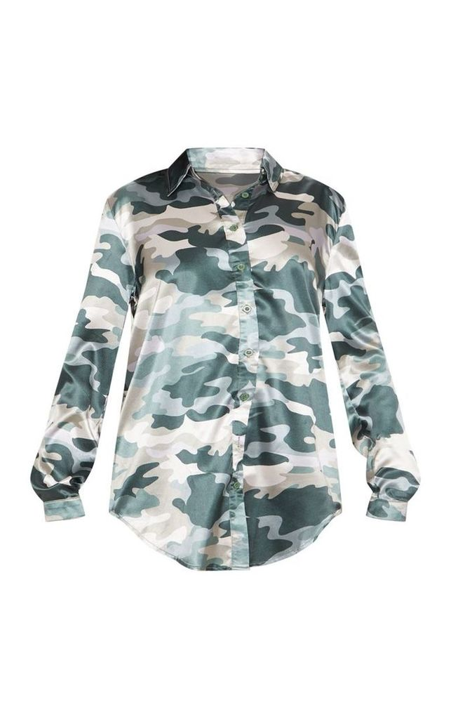 Khaki Camo Printed Oversized Shirt, Green