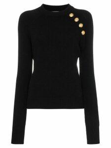 Balmain buttoned knitted wool cashmere blend jumper - Black